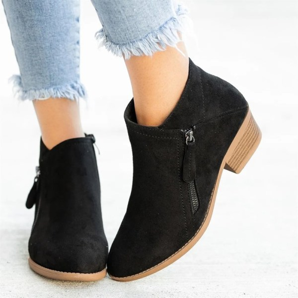 Women Fashion Warm Snow Ankle Boot Pointed Toe Shoes Side Zipper Black,42