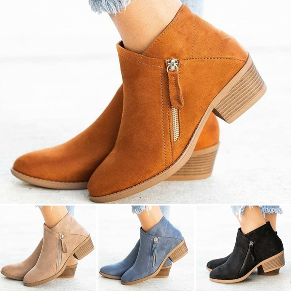 Women Fashion Warm Snow Ankle Boot Pointed Toe Shoes Side Zipper Orange,41