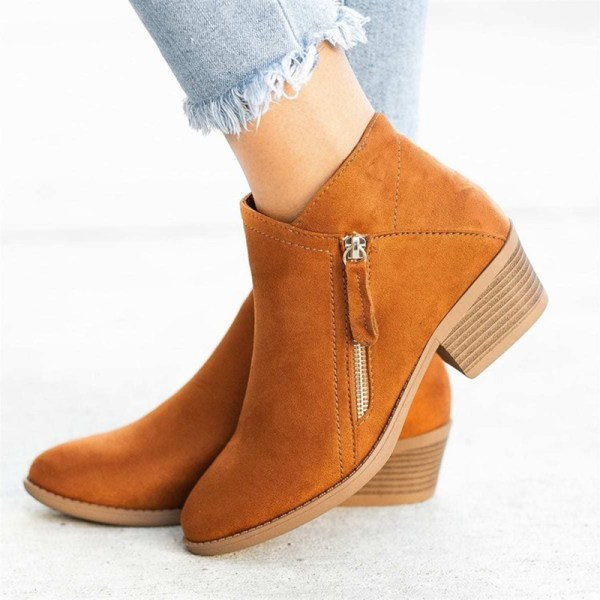 Women Fashion Warm Snow Ankle Boot Pointed Toe Shoes Side Zipper Orange,36
