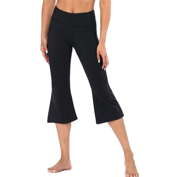 Kvinnor Flared Yoga Capri Byxor Höga midjefickor Träningsbyxor Black,XL