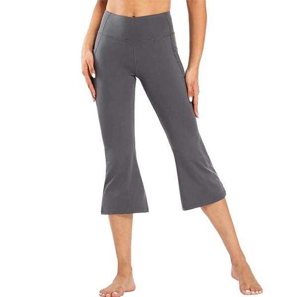 Kvinnor Flared Yoga Capri Byxor Höga midjefickor Träningsbyxor Gray,S