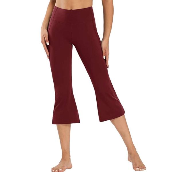 Kvinnor Flared Yoga Capri Byxor Höga midjefickor Träningsbyxor Red,XL