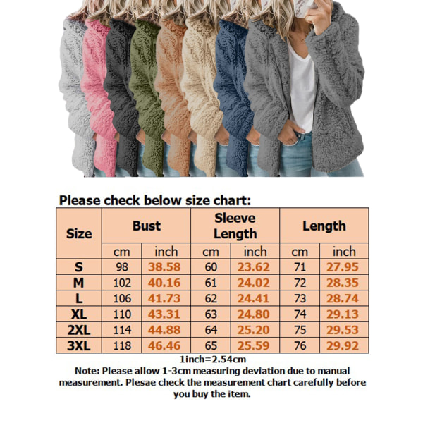 Women fluffy hoodie ladies fleece zipper hoodie jacket top Pink,S