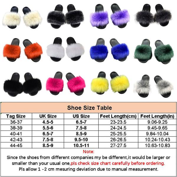 Women Fox Fur Slides Furry Slippers Slip On Sandals Casual Shoes Black,38-39
