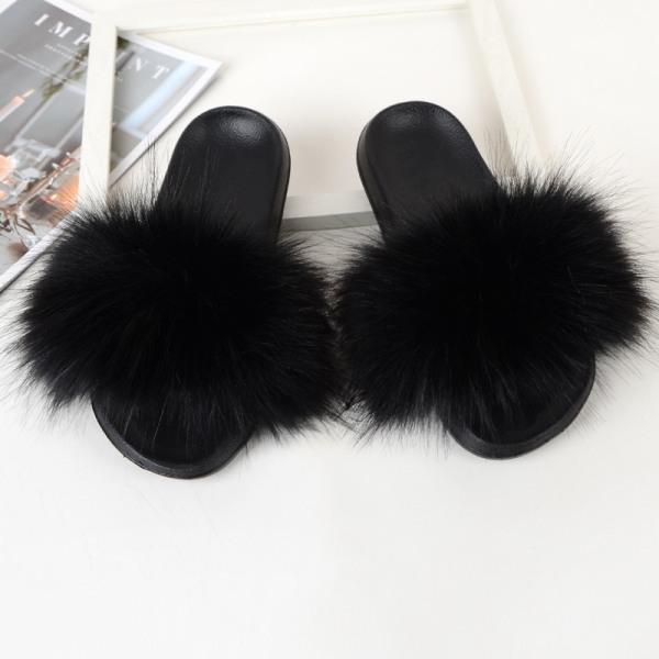 Women Girls Fur Furry Slippers Open Toe Parent-child Sandals Light Black,30