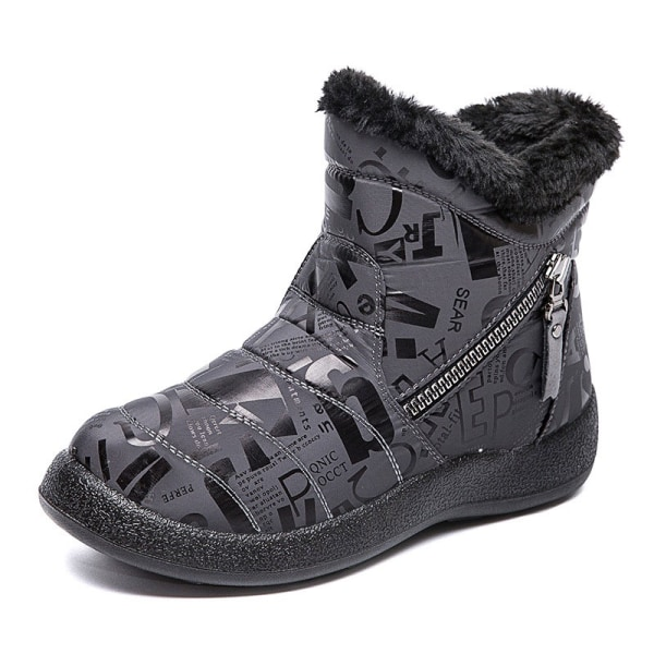 Women Girls Waterproof Snow Warm Ankle Boots With Double Zippers Gray,29