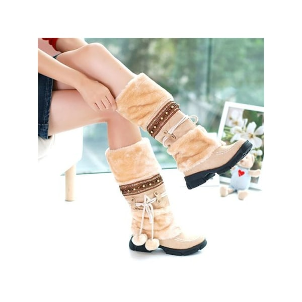 Women Girls Winter Warm Mid Calf Snow Boots Fur Lined Lace Up Beige,36