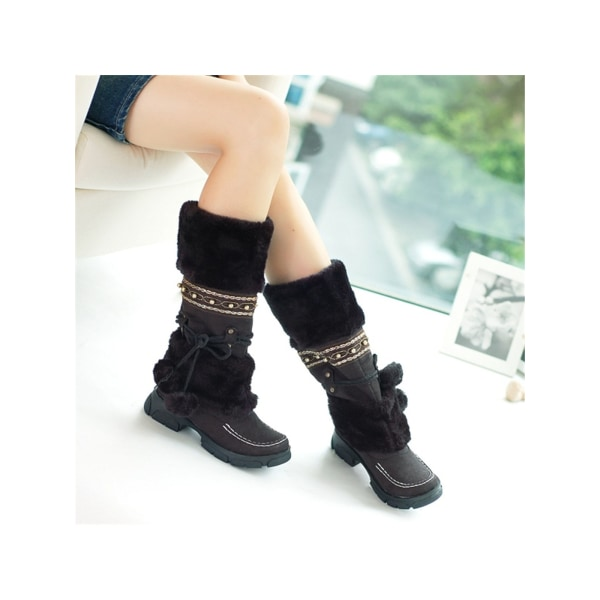 Women Girls Winter Warm Mid Calf Snow Boots Fur Lined Lace Up Green,38
