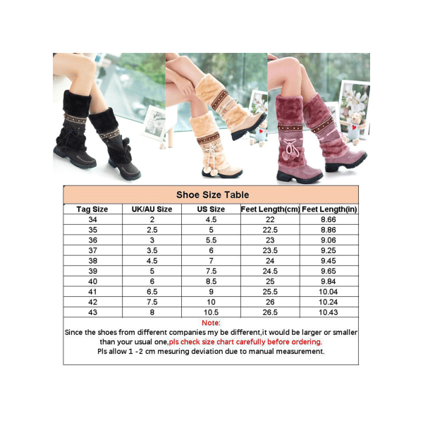 Women Girls Winter Warm Mid Calf Snow Boots Fur Lined Lace Up Purple,36