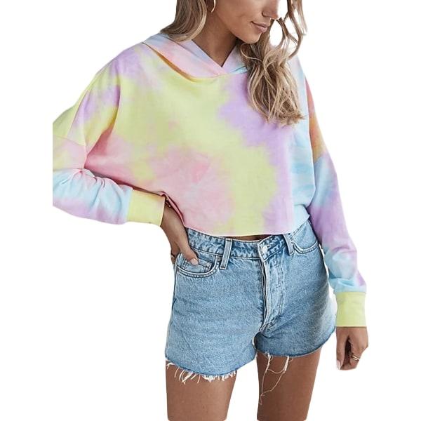 Women Gradient Hooded Sweatshirt Long Sleeve Pullover Blouse Purple,S