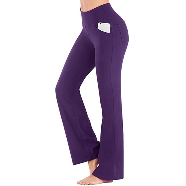 Women high waist hip-lifting yoga pants sports fitness pants Purple