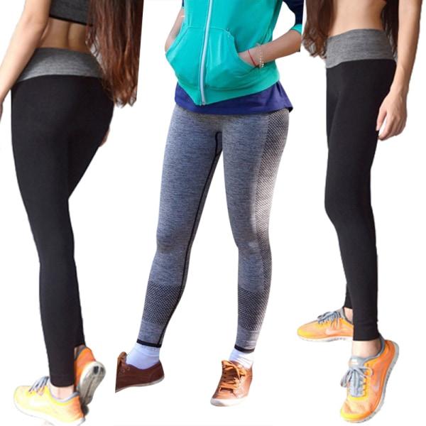 Women high waist quick drying seamless tight Yoga Pants Gray,L