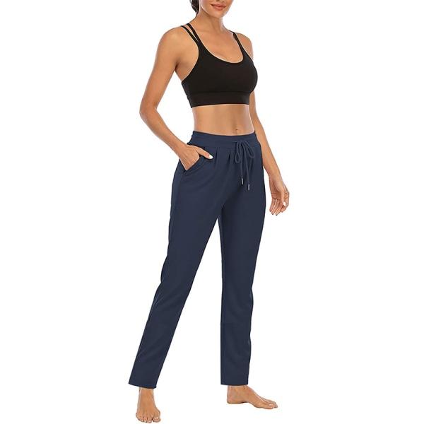 Kvinnor Yogabyxor med hög midja Casual byxor med dragsko Dark Blue,M