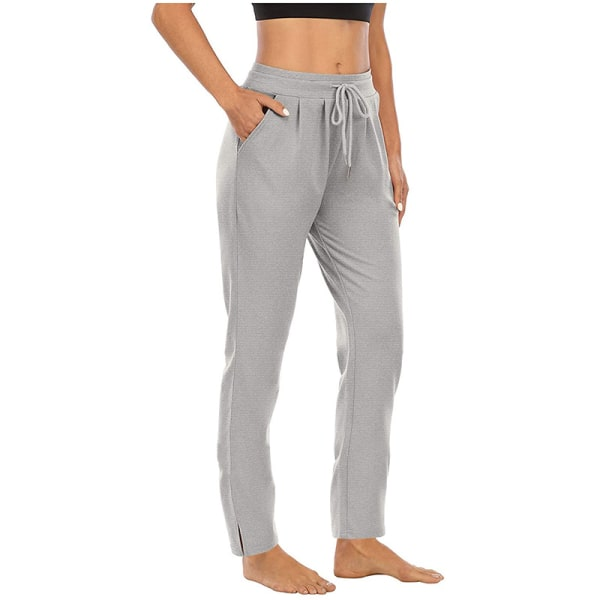 Kvinnor Yogabyxor med hög midja Casual byxor med dragsko Light Grey,M