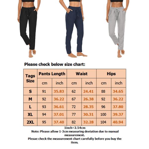 Kvinnor Yogabyxor med hög midja Casual byxor med dragsko Black,S