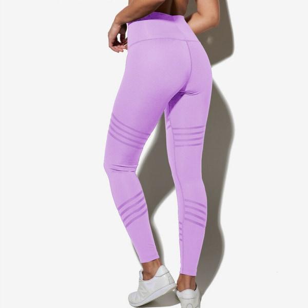 Women High Waist Yoga Pants Workout Gym Stretch Leggings Sports Purple,M