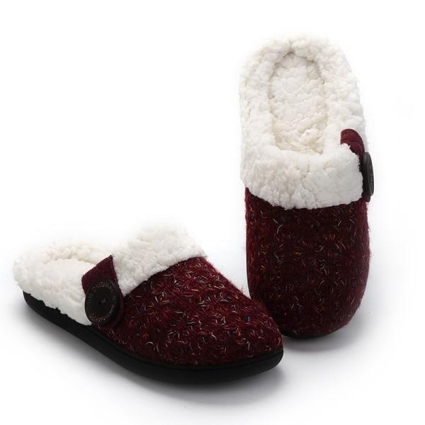 Women Knitted Slippers Slides Warm Floor Indoor Anti-Slip Shoes Dark Red,36/37