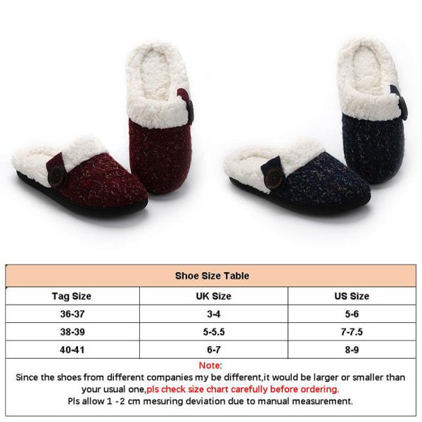 Women Knitted Slippers Slides Warm Floor Indoor Anti-Slip Shoes Navy Blue,36/37