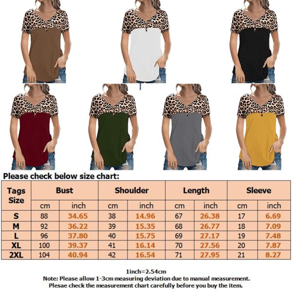 Women Leopard Print V-neck Short Sleeve T-Shirt Pullover Button White,L