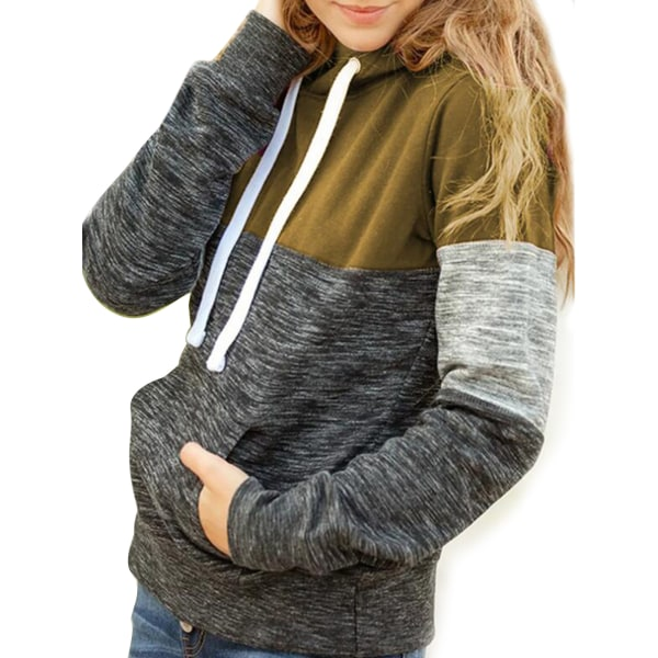 Women Long Sleeve Casual Hooded Pullover Top Sweatshirt T-shirt Khaki,S