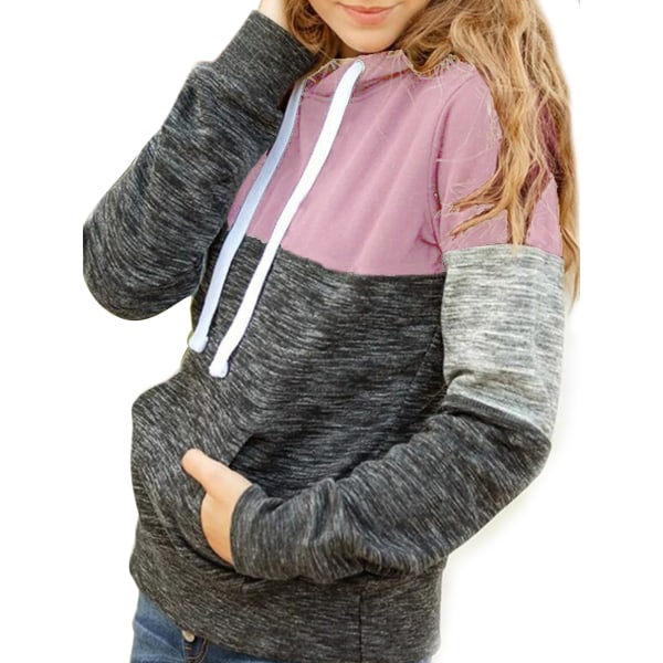 Women Long Sleeve Casual Hooded Pullover Top Sweatshirt T-shirt Pink,M