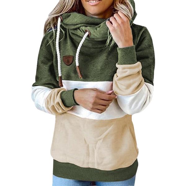 Women Long Sleeve Stitching Hooded Sweatshirt Ladies T-shirt Top ArmyGreen,L