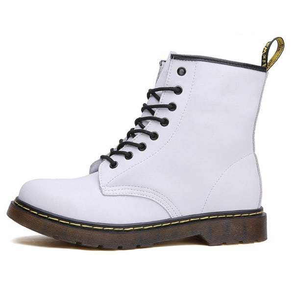 Women Casual Motor Retro 8-Eye Classic Leather Martens Boots White,38