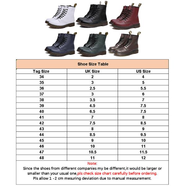 Women Plus Fleece Retro 8-Eye Classic Leather Martens Boots Blue,46
