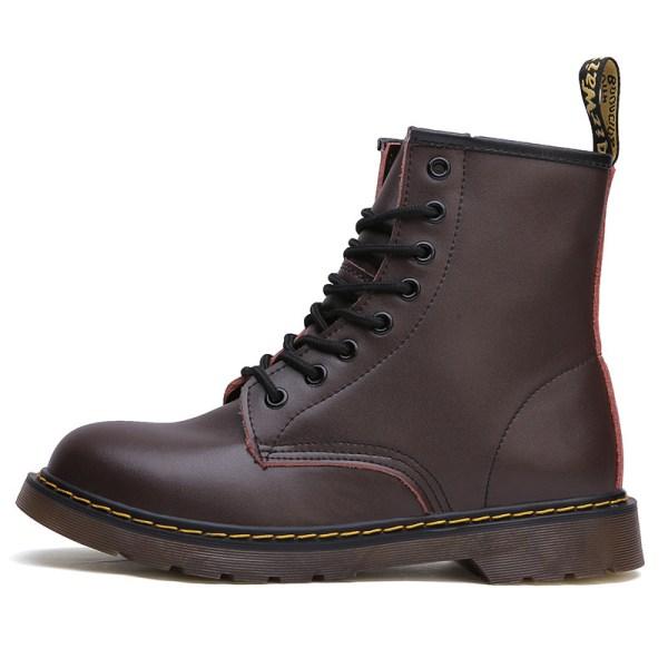Women Plus Fleece Retro 8-Eye Classic Leather Martens Boots Blue,47