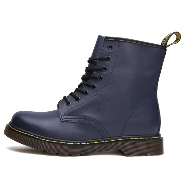 Women Casual Motor Retro 8-Eye Classic Leather Martens Boots Blue,46