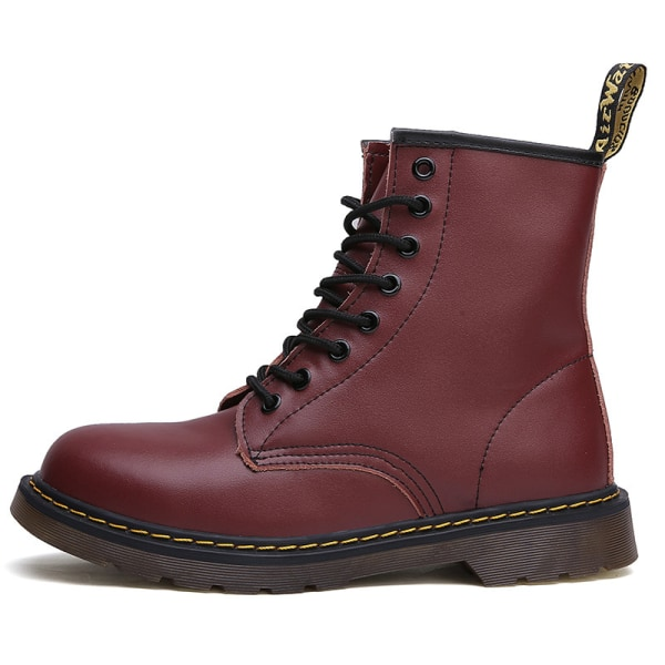 Women Plus Fleece Retro 8-Eye Classic Leather Martens Boots Red,42