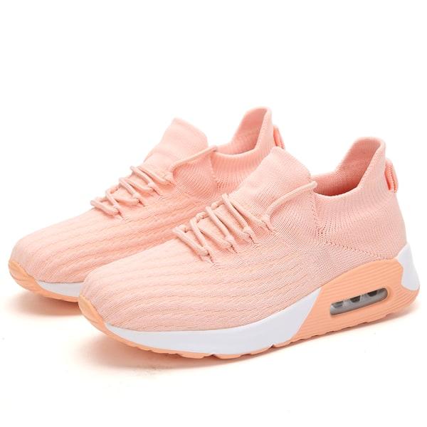 Women's Air Cushion Sneakers Athletic Running Elastic Sock Shoes Pink,37
