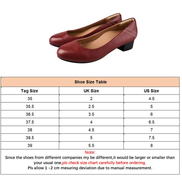 Women's Block Heels Formal Slip On Round Toe Shoes Casual Office Claret,38