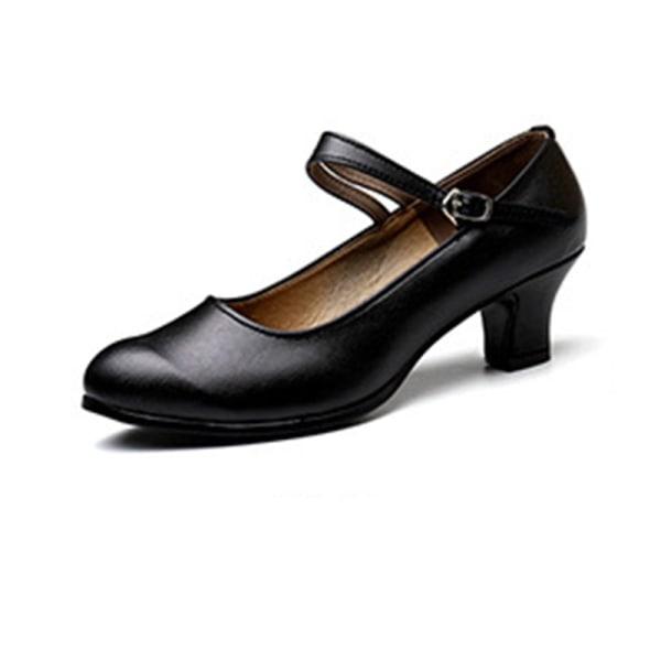 Kvinnors mjuka sulasandaler i högfärg med andningsfärg Black Single belt 3.5cm,36