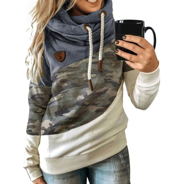 Women's Camouflage Hooded Sweater Long Sleeve Casual Top Blue,3XL