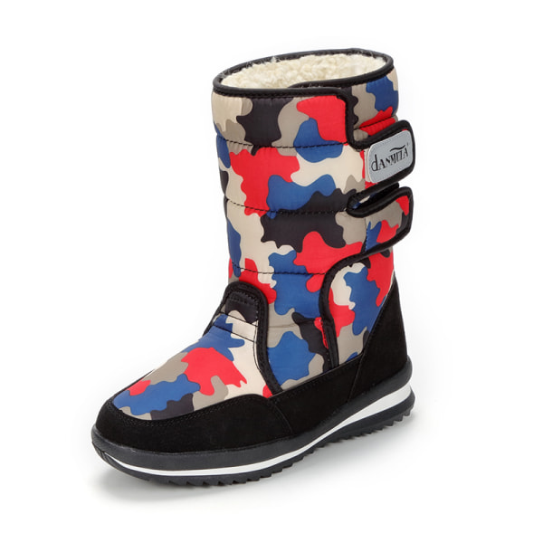 Women's Camouflage Winter Snow Boots Warm Booties Waterproof Red,37
