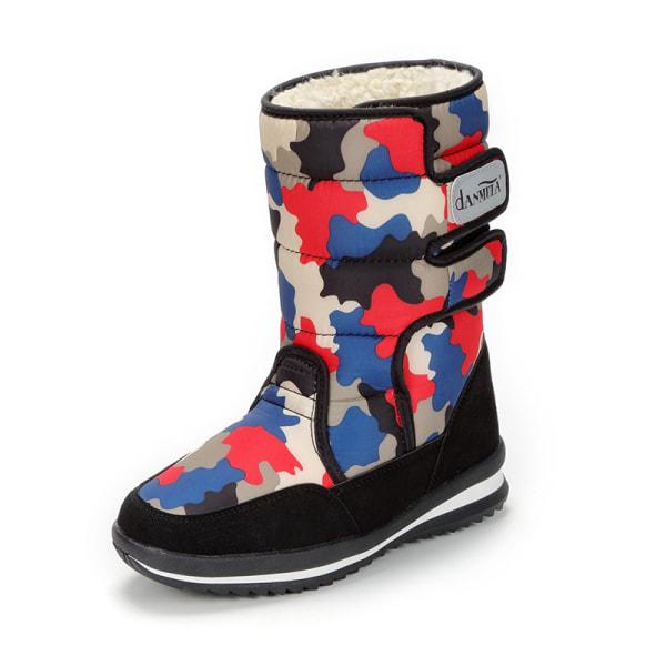 Women's Camouflage Winter Snow Boots Warm Booties Waterproof Red,40