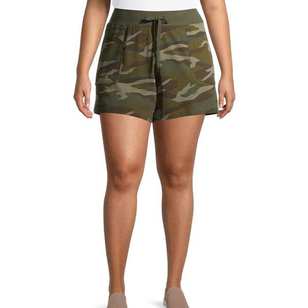 Kvinnors avslappnade kamouflage-shorts med shorts Underdelar Sport Army Green,M