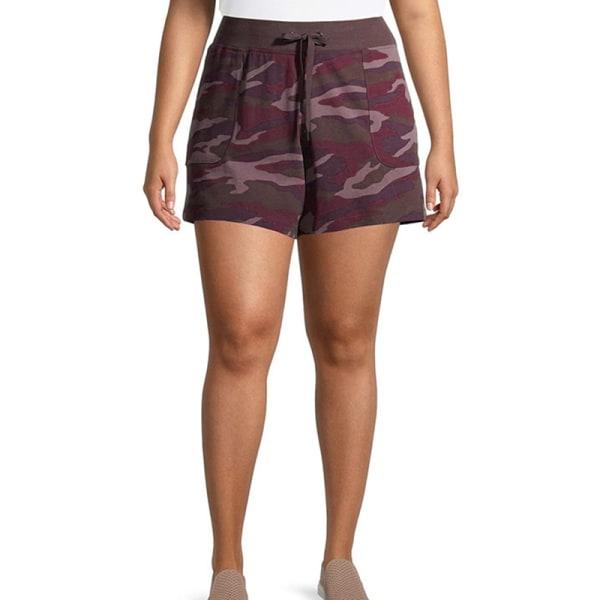 Kvinnors avslappnade kamouflage-shorts med shorts Underdelar Sport Claret,5XL