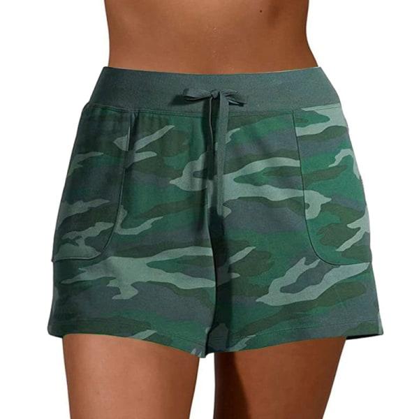 Kvinnors avslappnade kamouflage-shorts med shorts Underdelar Sport Green,XL
