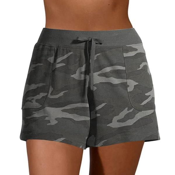 Kvinnors avslappnade kamouflage-shorts med shorts Underdelar Sport Grey,5XL