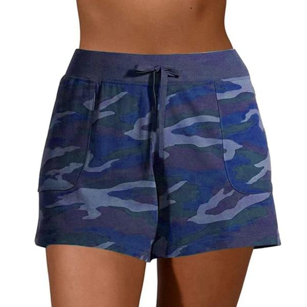 Kvinnors avslappnade kamouflage-shorts med shorts Underdelar Sport Navy Blue,L