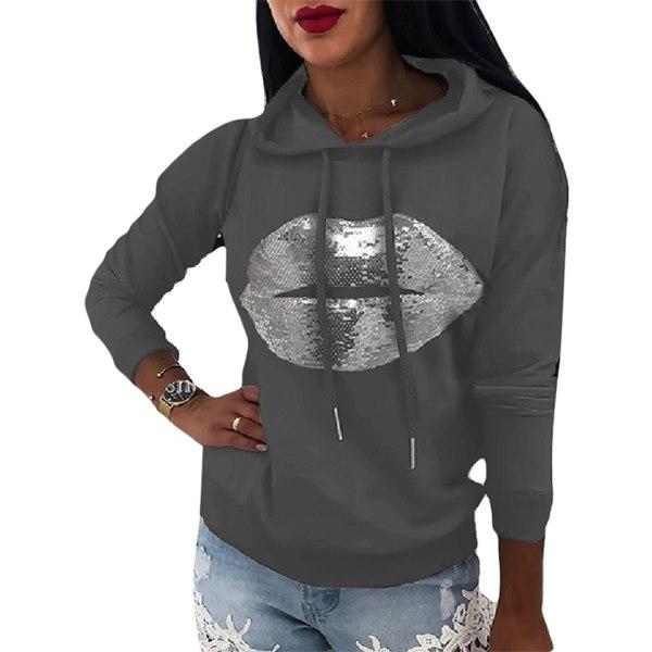 Women's casual loose hoodie long sleeve sweater t-shirt Gray,L
