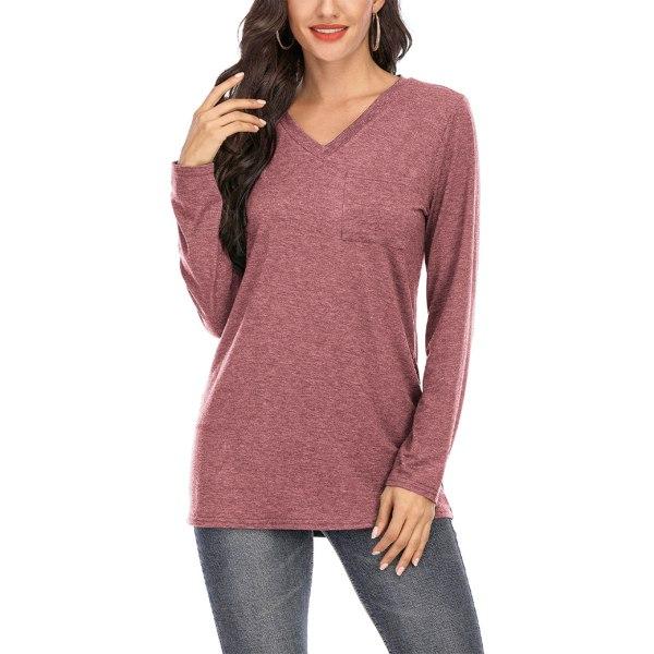 Women's Casual Plaid Long Sleeve T-Shirt V Neck Top Bean Paste Powder,XXL