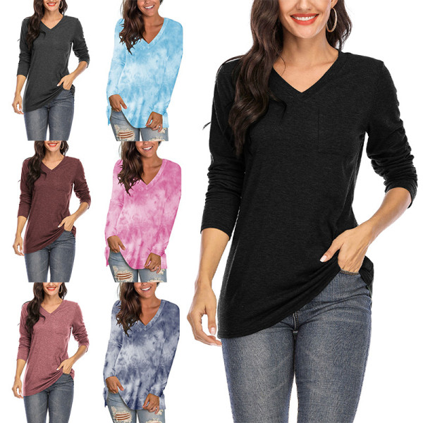 Women's Casual Plaid Long Sleeve T-Shirt V Neck Top Dark wine red,L