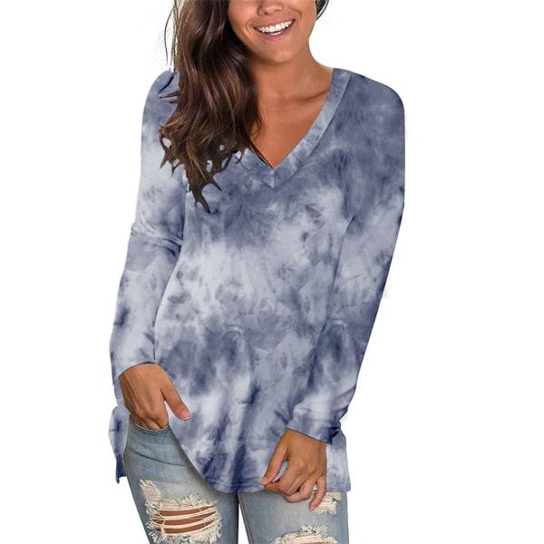 Women's Casual Plaid Long Sleeve T-Shirt V Neck Top Navy blue,M