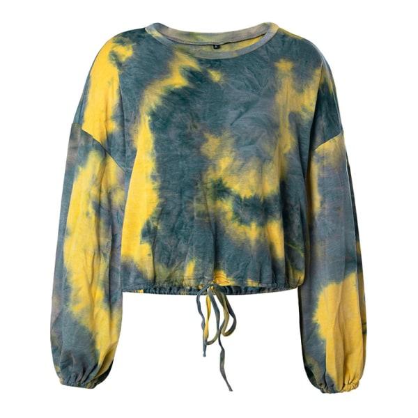 Women's casual tie-dye long-sleeved sweater lace top Blue Yellow,L
