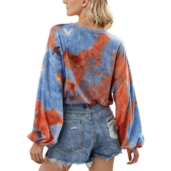 Women's casual tie-dye long-sleeved sweater lace top Orange blue,M