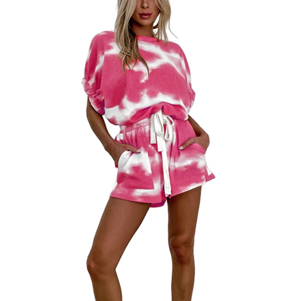 Women'S Casual Tie-Dye Printing Puff Sleeve Top Shorts Suit Rose Red,M