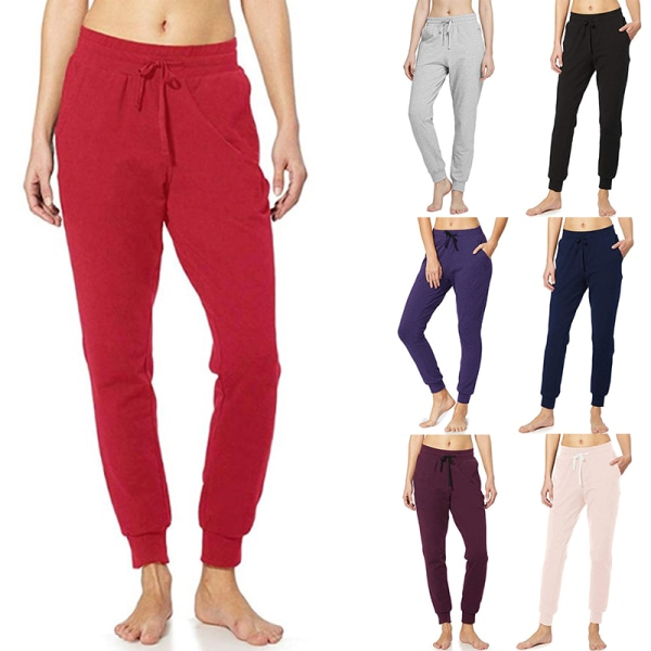 Women'S Casual Yoga Sports Jogging Pants Elastic Waist Pants Red,S